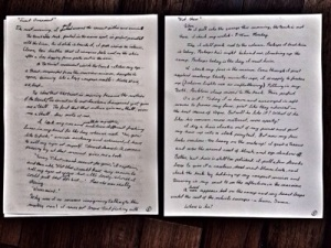Comparison of penmanship after 1 page (left) and 5 pages (right)